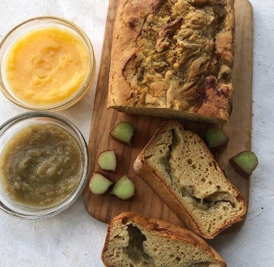 Gluten Free Rhubarb Custard Loaf (Dairy Free)
