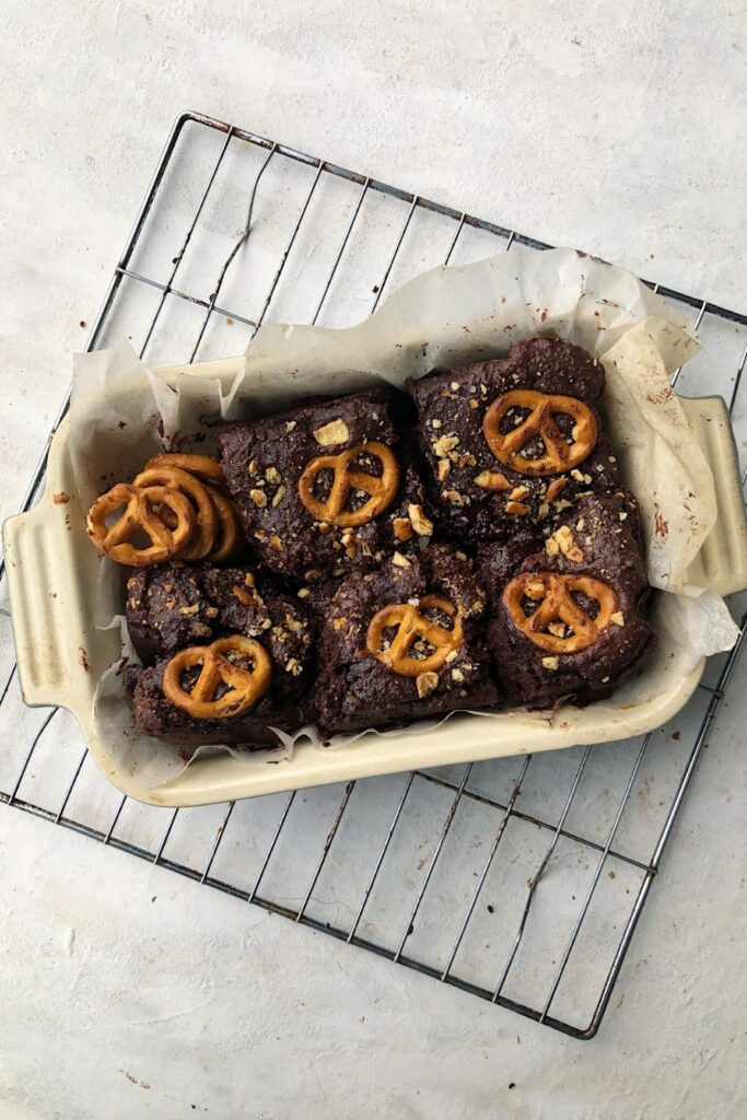 chocolate pretzel brownies in a baking dish