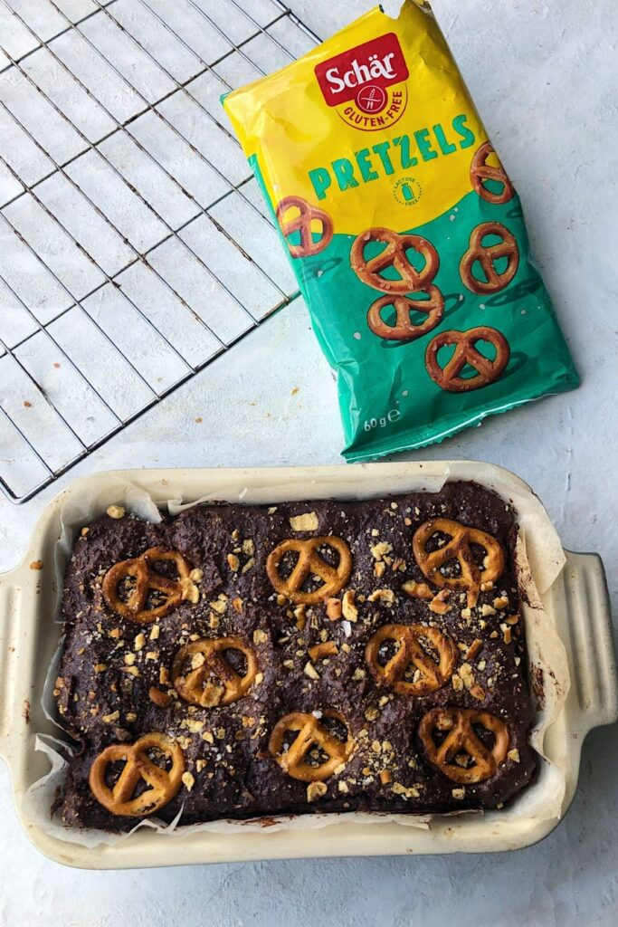 chocolate brownies with a bag of pretzel