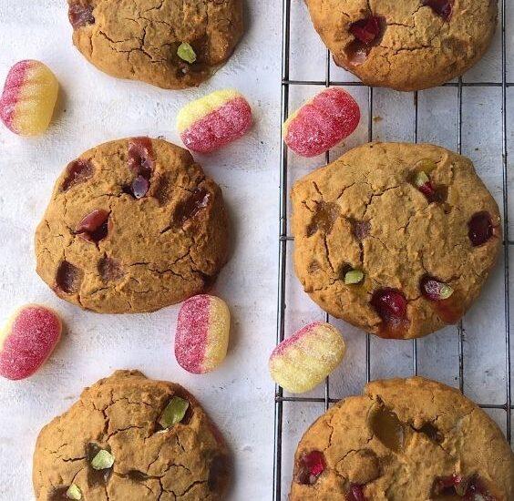 Gluten Free Rhubarb Custard Cookies (Vegan)