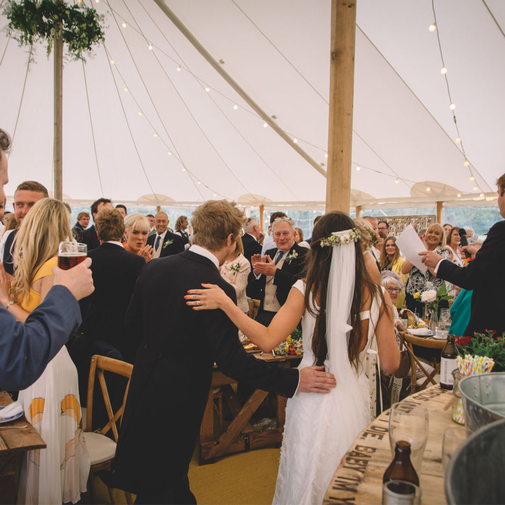 Ellis and James at their marquee wedding reception