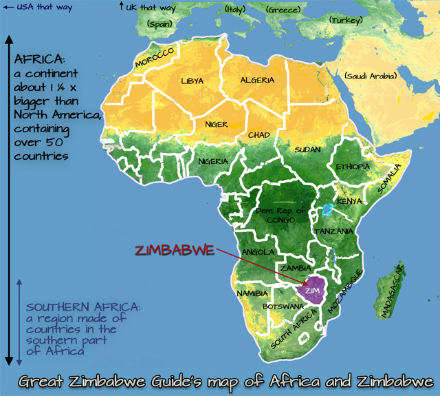Map practical info Zimbabwe and Africa