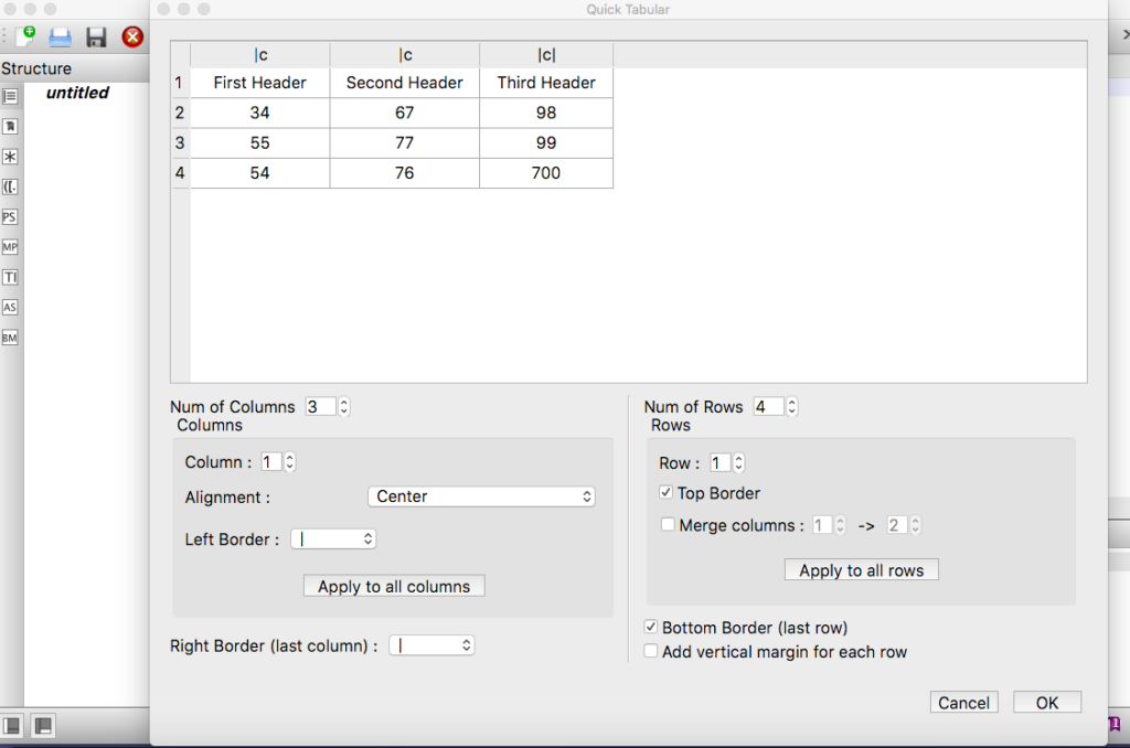 Quick Tabular Wizard in TexStudio (on Mac OS)
