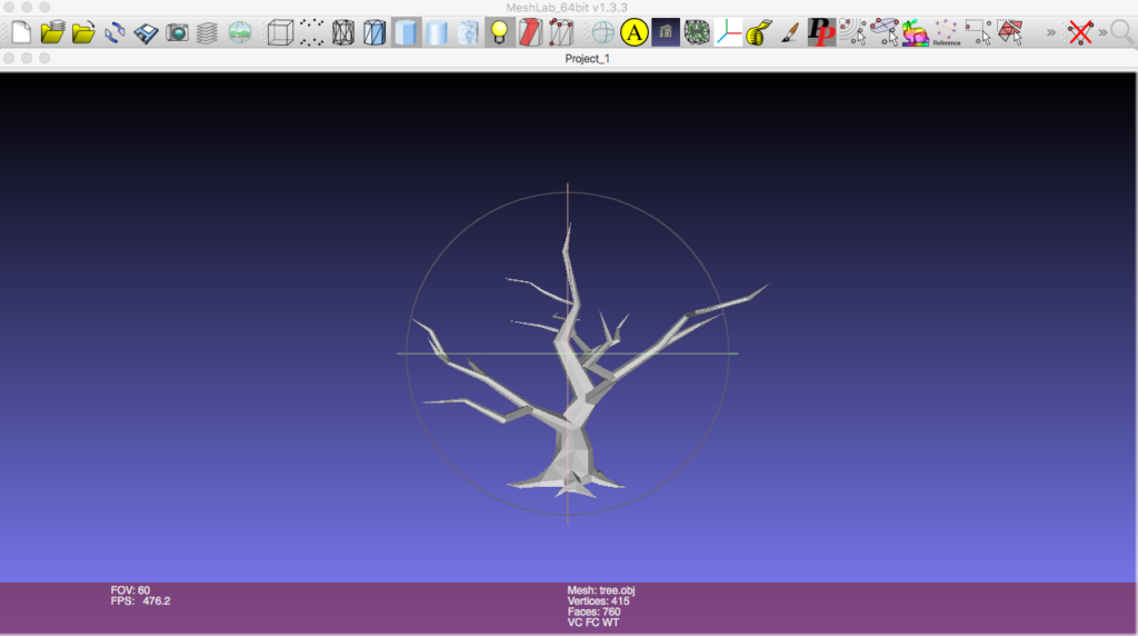 The tree.obj mesh loaded into Meshlab application