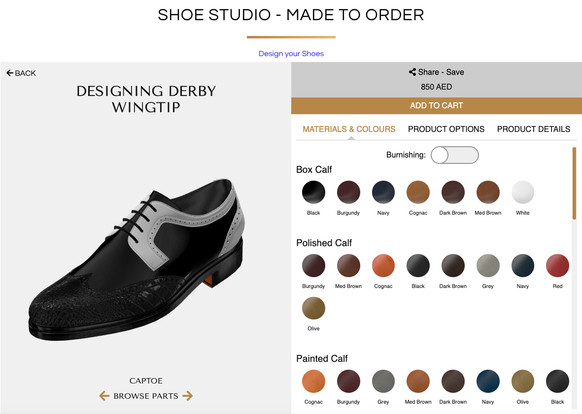 Designing a Derby Wingtip with Black Crocodile leather on the Captoe, Black Patent Leather on the base, and White Patent Leather on the Vamp