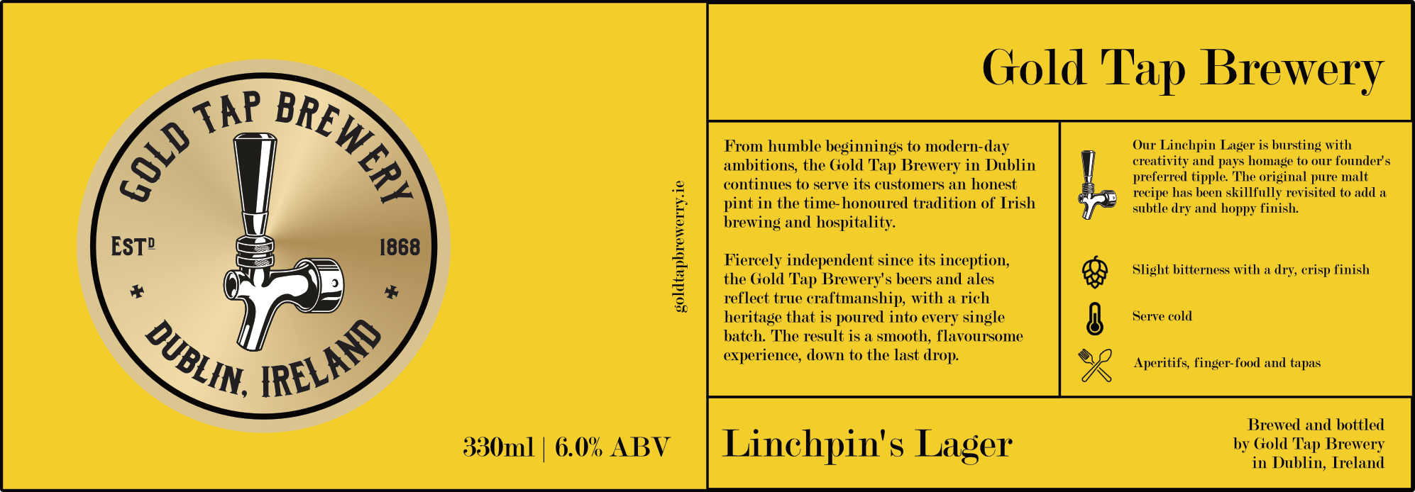 Gold-Tap-Brewery-Label-Yellow