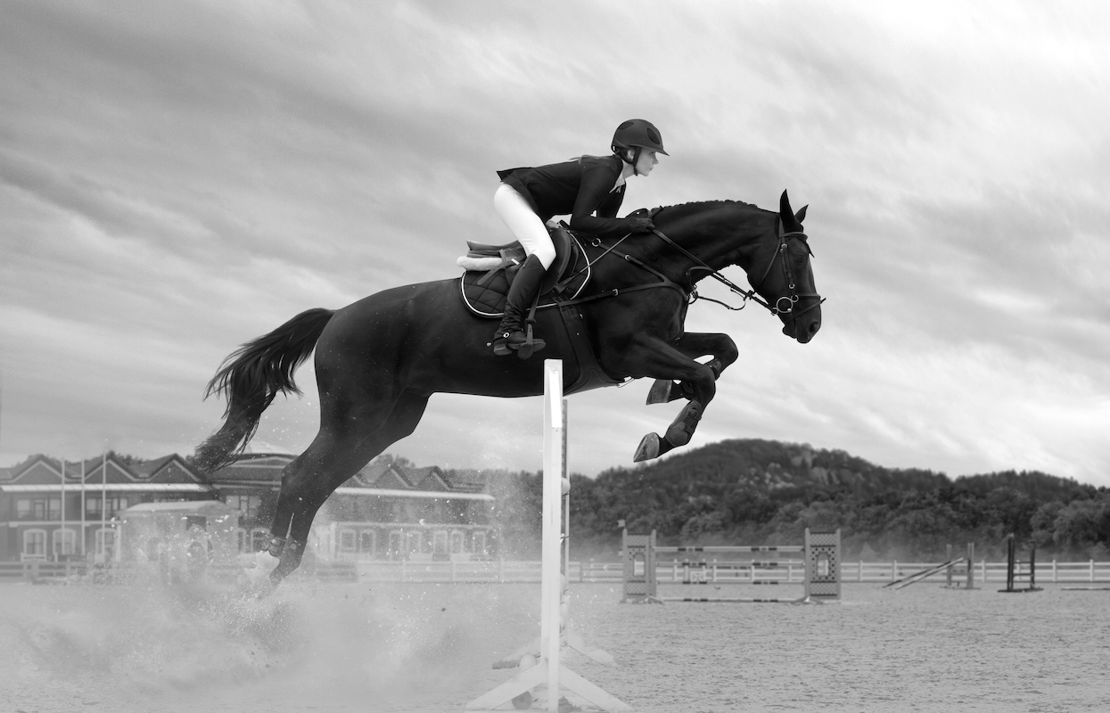 Equestrian,Sport,-,A,Young,Girl,Is,Riding,A,Horse