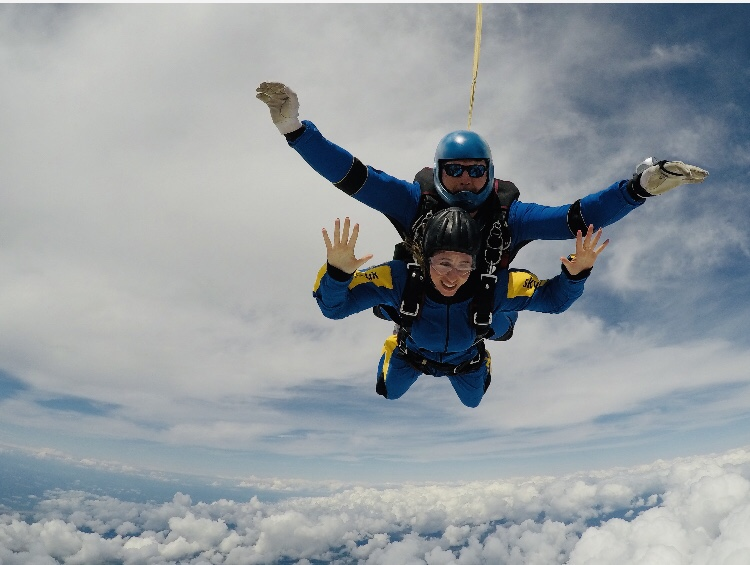 First time sky dive smiling
