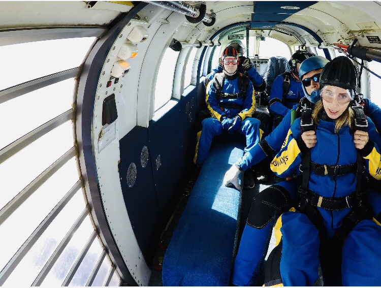 All aboard the sky dive plane