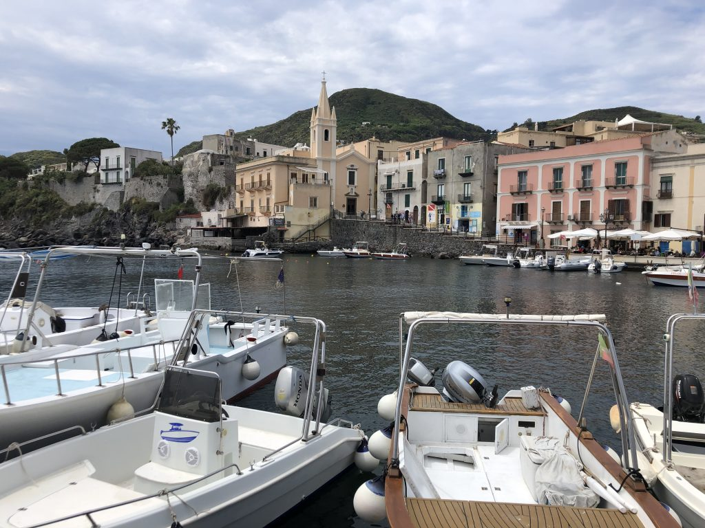 Arriving in Lipari on our day trip to the Aeolian islands