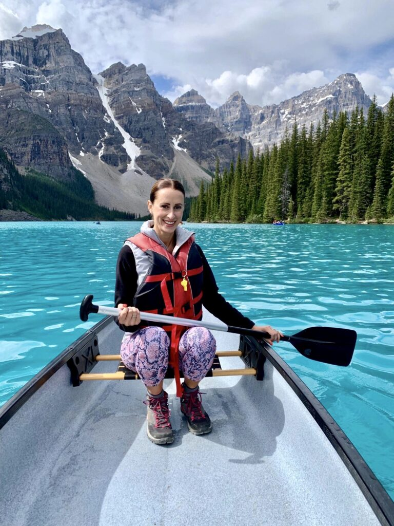 Canoeing on Moraine Lake in Summer