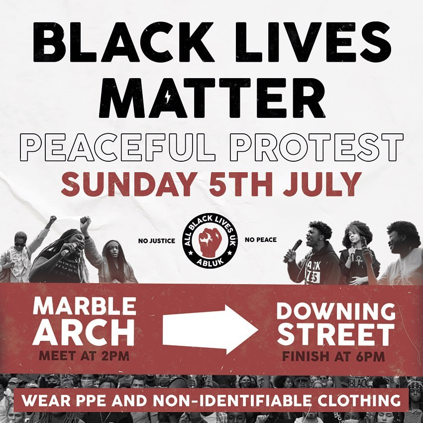 London BLM protest Marble Arch to Downing Street – Sunday 5th July 2pm
