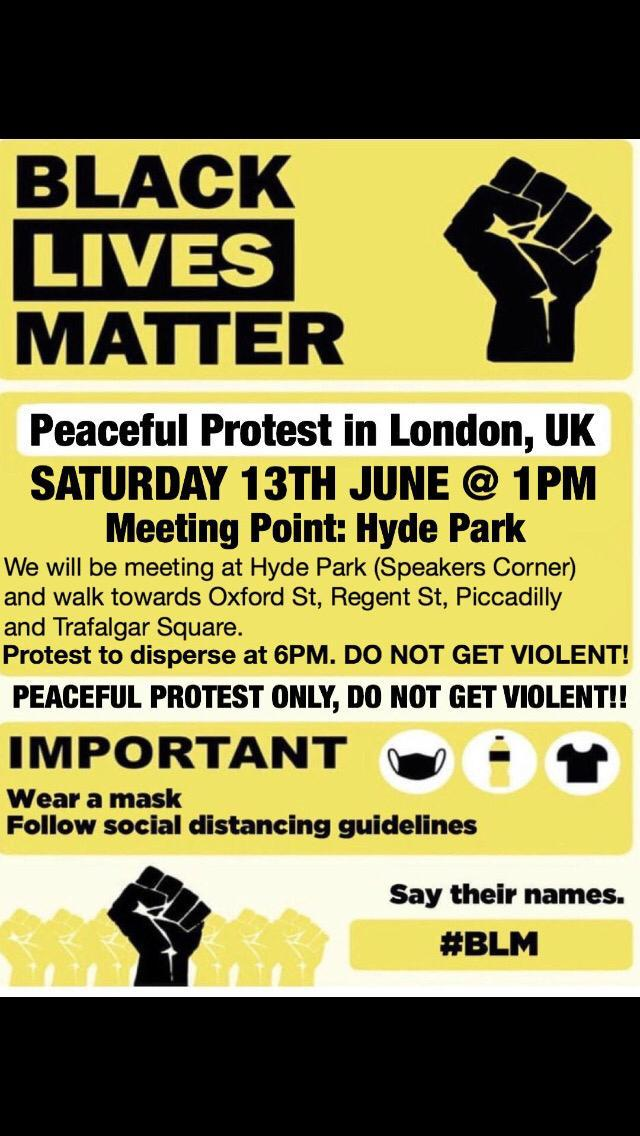 Saturday demo 13 moved to Friday 12th – assemble Marble Arch 1pm