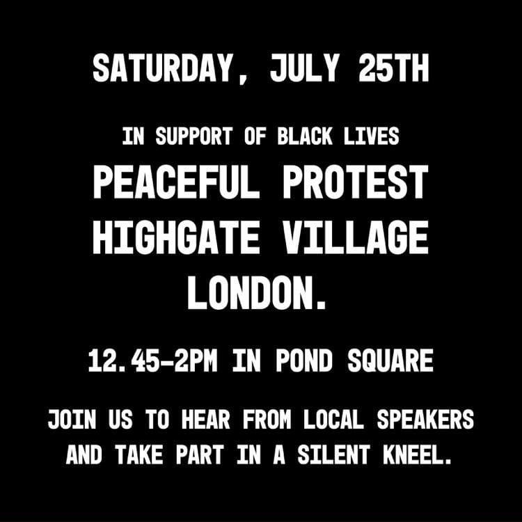 highgate village protest 25 july 2020 12:45