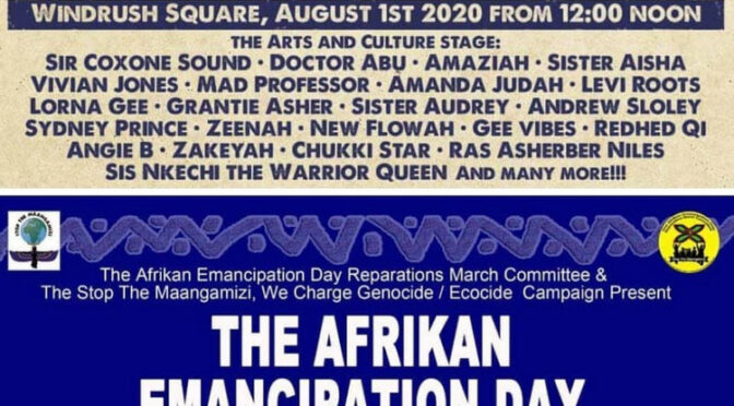 Afrikan Reparations Day Saturday 1 August