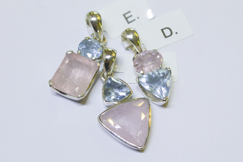 PENDANTS, AQUAMARINE & MORGANITE