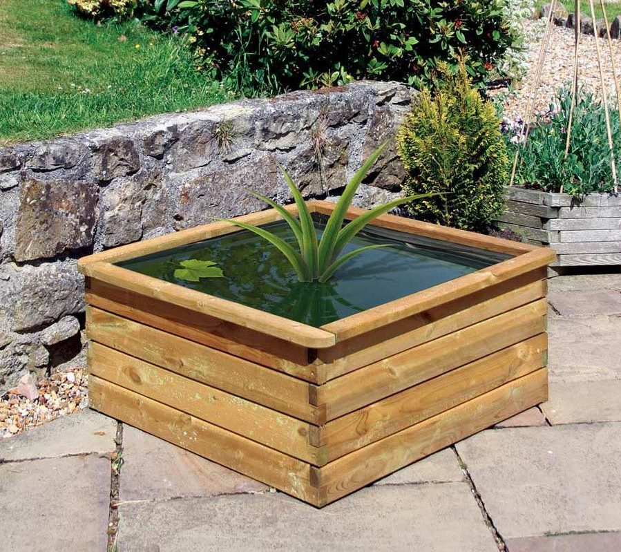 Square Wooden Aquatic Planter