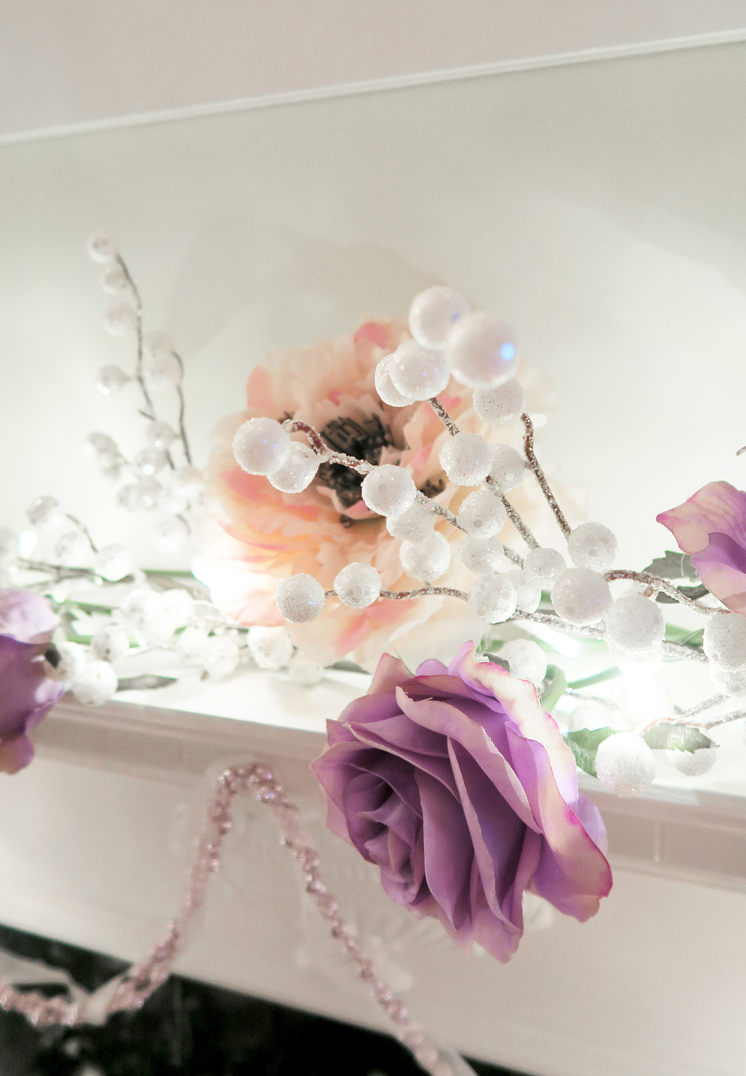 Pink Christmas, Christmas lights, Christmas Flowers, Decorations, Rose, Blush, Nude, Chandelier