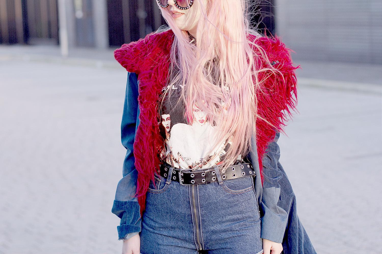 Marilyn Manson, Mechanical Animals, Triple Denim, Double Denim, Maxi Coat, Denim Coat, Red Shearling, Prada,