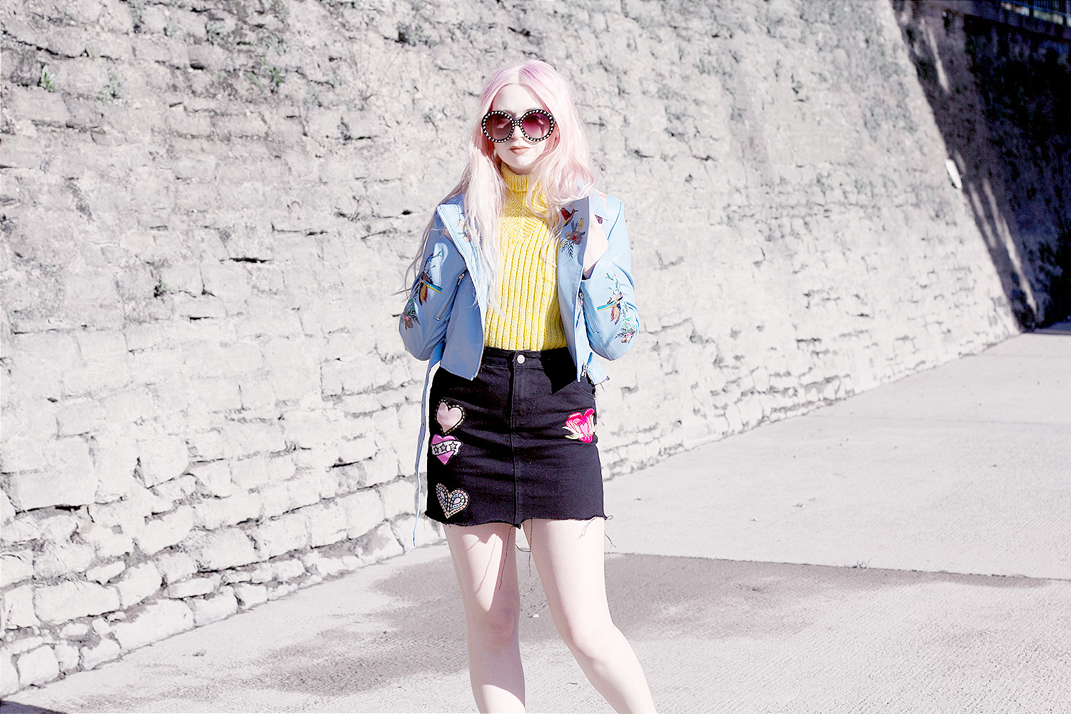 Embroidered Jacket, Embroidered Leather, unif yellow jumper, Denim Patch Skirt, Black Denim Skirt, Glamorous Skirt, Blue Leather Jacket, embroidered trainers
