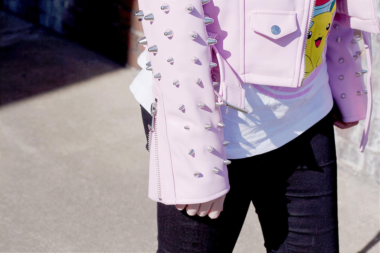 pokemon tshirt, pokemon trainer, pink pokemon, killstar studded jacket