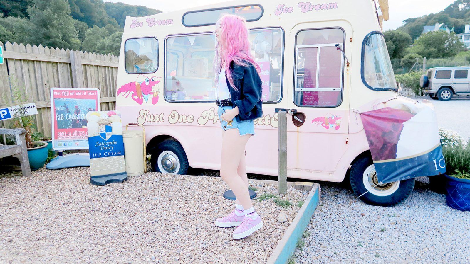 Vintage Icecream Van, Boohoo denim shorts, platform trainers, sequin shorts, pastel swimsuit