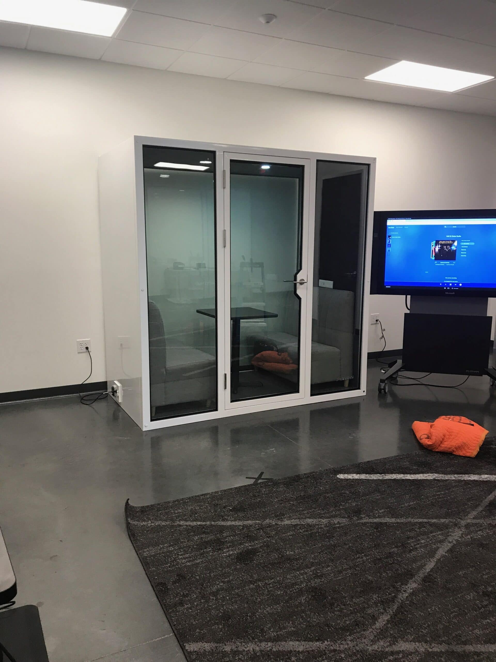 white office meeting pods