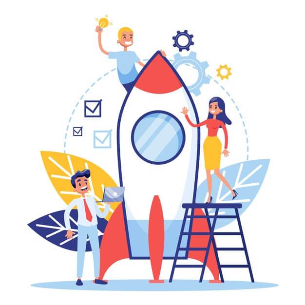 startup teamwork concept web banner business profit