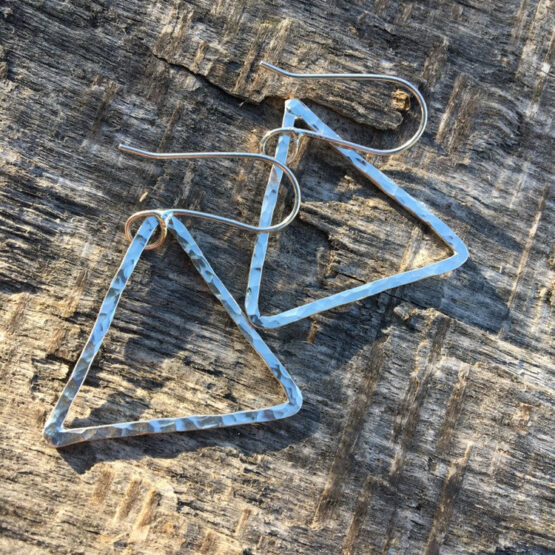 Chilli Designs Big Hammered Triangle Drop Earrings 1