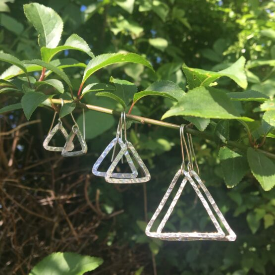 Chilli Designs triangle hammered drop earrings