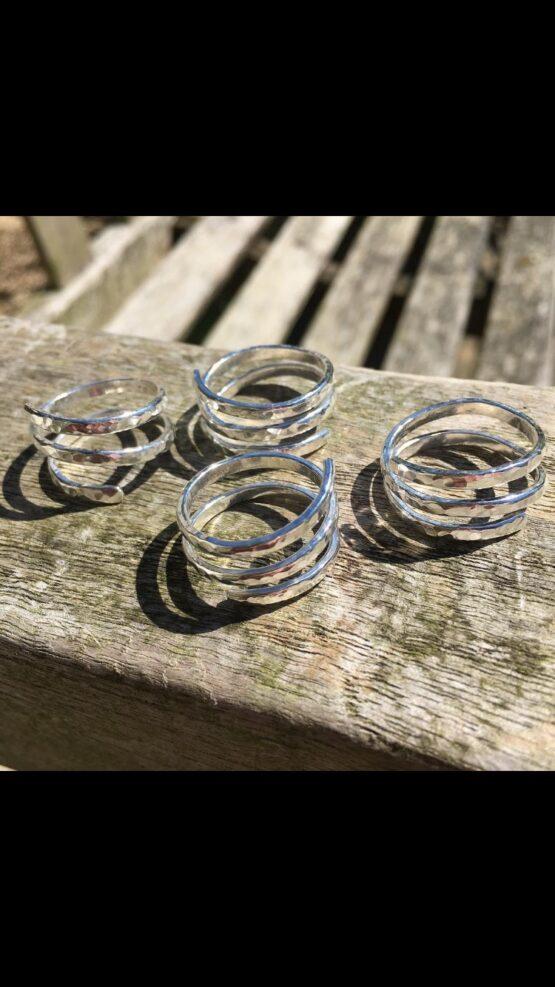 chilli designs hammered spiral ring