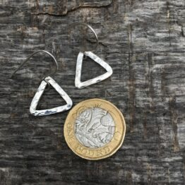 Chilli Designs small hammered triangle drop earrings