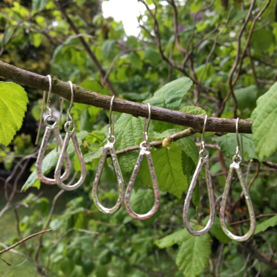 Chilli Designs tear drop hammered earrings
