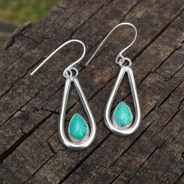 chilli designs malachite drop earrings