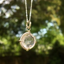 rose quartz pendant Chilli Designs