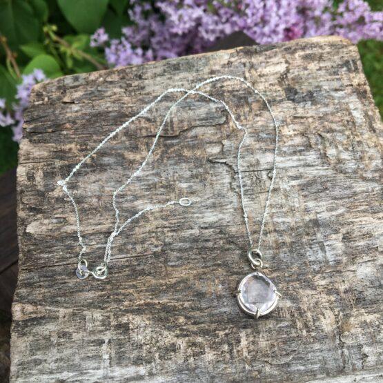 rose quartz pendant Chilli Designs