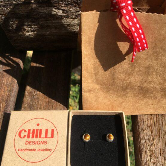 Chilli Designs tiger's eye studs