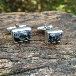 Chilli Designs snowflake obsidian cufflinks