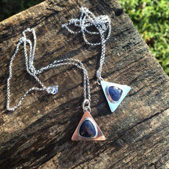 Chilli Designs rose cut sapphire triangle pendant