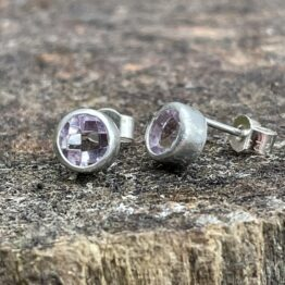 Chilli Designs pink amethyst faceted stud earrings