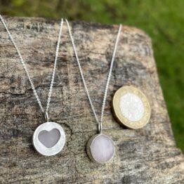 Chilli Designs rose quartz heart pendant