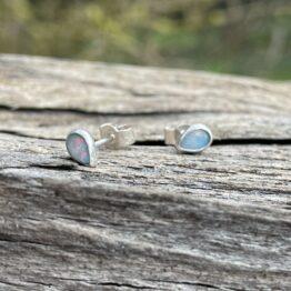 Chilli Designs light blue green pink opal stud earrings