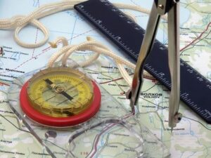 Map, compass and sextant for planing