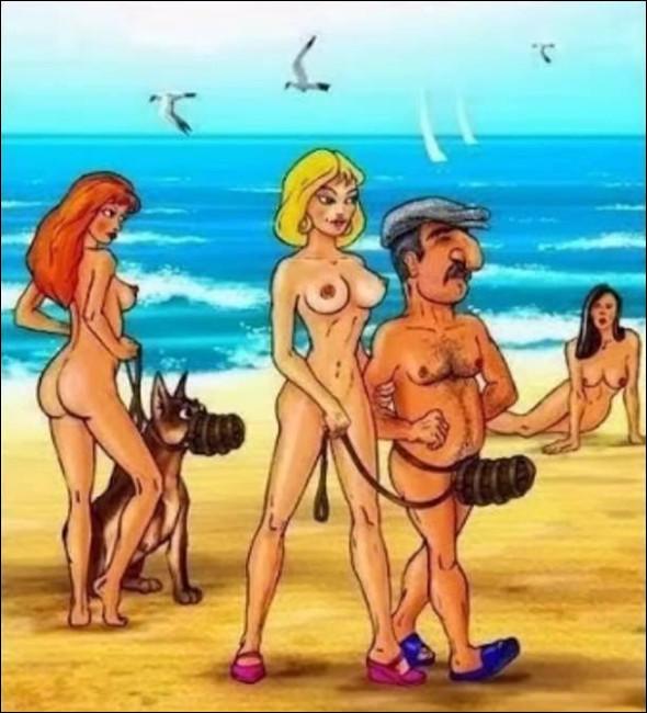 На нудистському пляжі дівчина йде з хлопцем-кавказцем. На пісюн в нього надітий неначе намордник