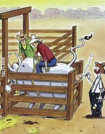 Смішний малюнок про родео. На родео ковбой сів на бика і готується, що його випустять із загону. В цей час клоун загасив цигарку об яйця бика.