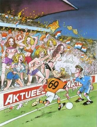Смішний малюнок Футболіст з номером 69 пробігає повз трибуни, а там дівчата демонструють йому свої принади