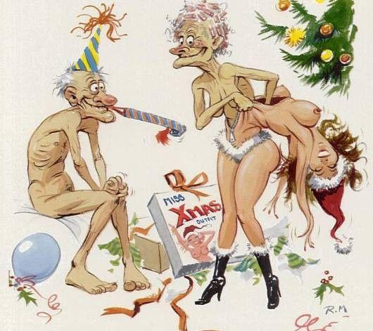 Різдвяний подарунковий секс-костюм. Стара дружина одягає костюм молодої дівчини. Дід чекає