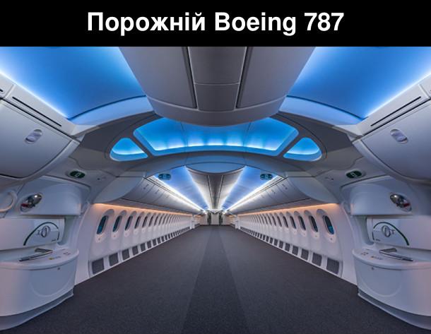 Гарне фото: порожній салон літака Боїнг 787