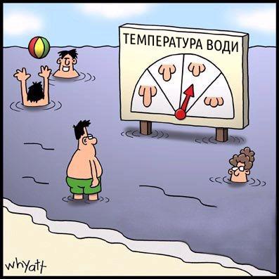 Прикол: Температура води на пляжі. Індикатор температура води в залежності від скоцюрблення пісюна