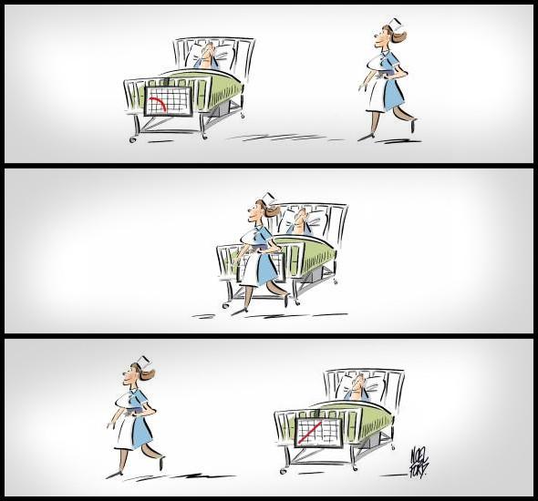 Смішний малюнок про лікарню. В лікарні повз хворого проходить красива медсестра. При цього діаграма в нього різко змінюється (ніби ерекція)